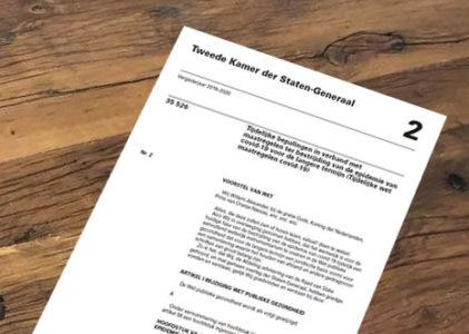 Brief aan 2de Kamer ivm spoedwet Corona
